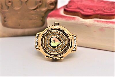 Vintage Ring Watch Gold Tone w/ Crystal Heart & Clam Shell Top By DIGITS