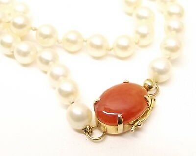 Vtg 14K Gold Cultured Pearl Necklace 69 Pearl Strand Carnelian Clasp Station