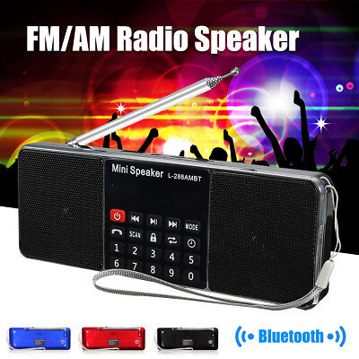 Bluetooth Portable LCD FM/AM Radio Stereo Speaker MP3 Music Player Micro SD USB