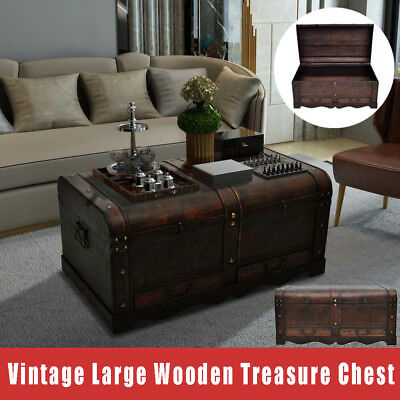 Vintage Large Wooden Treasure Chest Home Storage Box Trunk Coffee Table Brown US & VINTAGE LARGE WOODEN Treasure Chest Home Storage Box Trunk Coffee ...