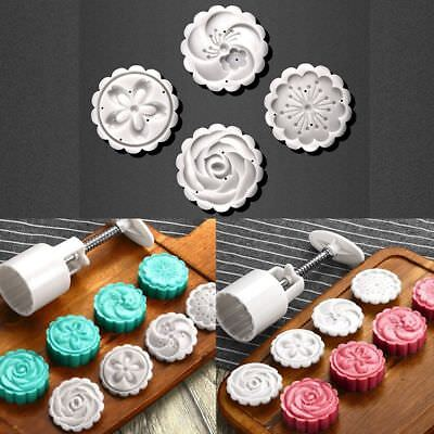 Baking Tools Pastry Round 4 Stamps Pressing MoonCake Cutter Cookie Hand