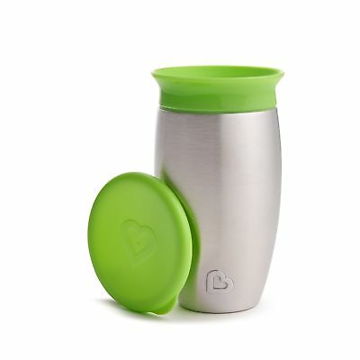 Munchkin Miracle Stainless Steel 360 Sippy Cup, Green, 10 Ounce New