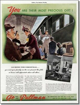 1938 Going home for Christmas. vintage Pullman railroad train car print-ad