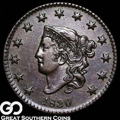 1830 Large Cent, Coronet Head, Large Letters, Tough Choice Uncirculated Copper!