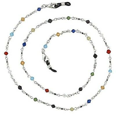 Beaded Glass Eyeglass Chain Holder Fashion Lanyard Necklace, Rainbow New