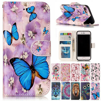 For iPhone 6 7 8Plus X XS Painted Magnetic Flip Leather Wallet Stand Case Cover