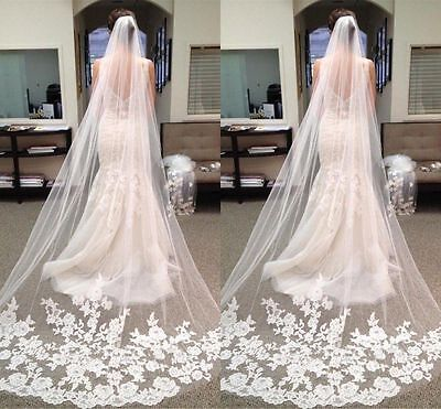 118'' White Bridal Cathedral Length Lace Edge Bride Wedding Bridal Long Mesh