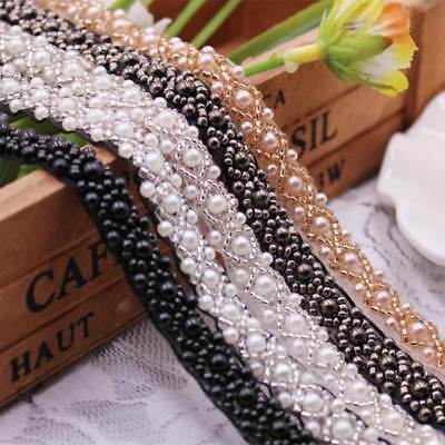2 Yards New Pearl Beaded Braided Trimming Venise Embroidered Lace Ribbon Trim