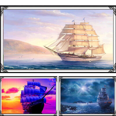 Landscape Cross Stitch Diamond Painting 5d Embroidery Sailing Diy Kit Ship Boat