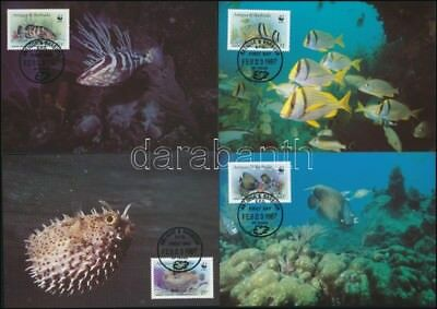 Antigua & Barbuda stamp WWF Fish set on 4 CM-s Cover 1987 Mi 1010-1013 WS248764