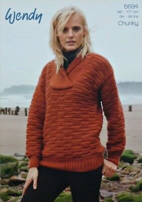 KNITTING PATTERN Ladies Mens Easy Knit Textured Jumpers Chunky 5694 Wendy