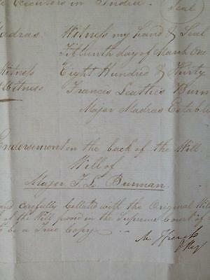 Will of Major Francis Leathes Burman, East India Company, Madras, 1832