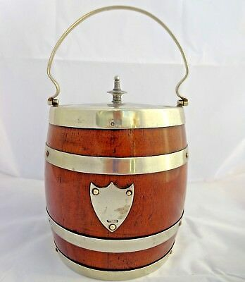 Antique Silver Plated Oak Barrel Shaped Biscuit Barrel Ice Bucket Shield c 1900