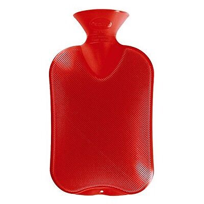 Fashy Classic Rubber Hot Water Bottle Single Ribbed 2.0L, Red-Made in Ger... New