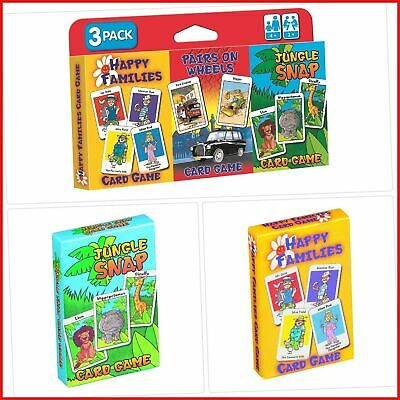 childrens card games jungle snap pairs on wheels pack of 3 different