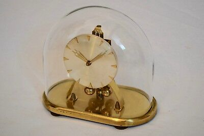 VINTAGE 1960s S. HALLER OVAL ANNIVERSARY/ TORSION MANTEL CLOCK & GLASS DOME