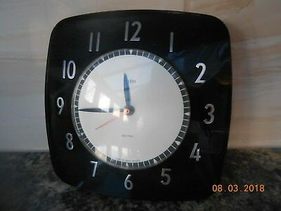 VINTAGE SMITHS SECTRIC BAKELITE (BAK-O-LITE) ELECTRIC WALL CLOCK untested