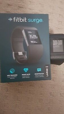 fitbit surge large black fitness tracker watch gps heart rate monitor exercise