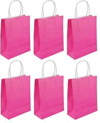 12 X Large Hot Pink Party Bags - Handles Luxury Hen Party Sweet Loot Lunch Gift
