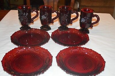 Avon Red Cape Code Ruby Red 4 Bread Butter Plates 4 Mugs