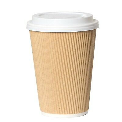12 oz Paper Coffee Cups with Lids - 50 Disposable Tan Ripple Cups 12 Ounce New
