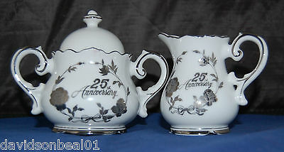 Vtg NORCREST Creamer & Sugar 25th Anniversary White Porcelain Silver Decoration