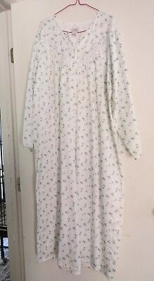 Ladies ARIA large cotton/poly NIGHT GOWN Sleepwear full length white blue flower