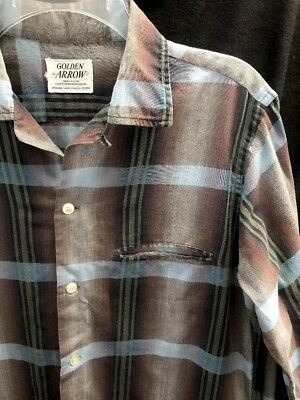 Vtg 50's Golden Arrow Cluett Peabody & Co. Shadow Plaid Sanforized Shirt~Medium