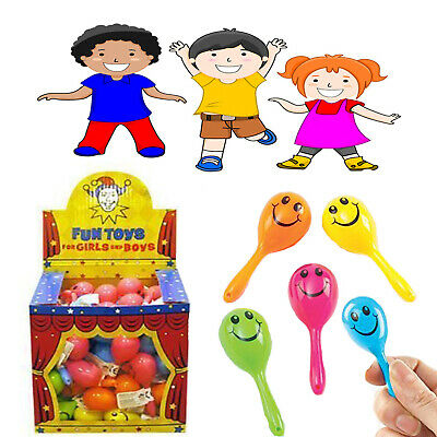 6/12/24 Mini Smiley Maracas Kid's Pinata Loot Party Bag Filler Rattle Shaker Toy