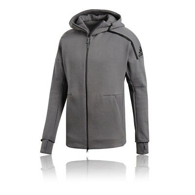 adidas Mens ZNE Hoodie 2 Grey Sports Gym Full Zip Hooded Breathable Pockets