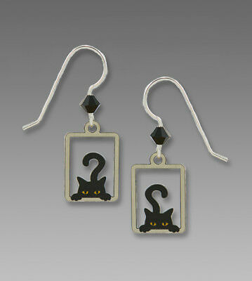 Sienna Sky Peek a Boo Black CAT Earrings STERLING SILVER Kitty 2036 + Gift Box