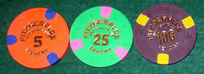 One Each 5, 25, & 100 No Cash Value Fitzgerald's Reno, Nv Casino Chips