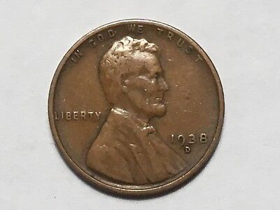 1938 D  Lincoln Wheat Cent Penny   Nice Average Circulated Condition 1938D