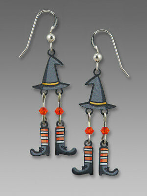 Sienna Sky WITCH HAT with Dangling Feet EARRINGS Halloween Sterling Silver + Box