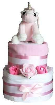 Pink Unicorn Star Nappy Cake Deluxe Gift Wrapped Baby Present Maternity Leave