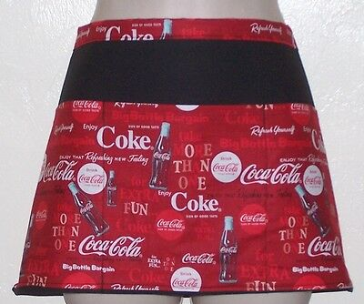 Black apron coke cola waitress server waiter waist apron 3 pockets