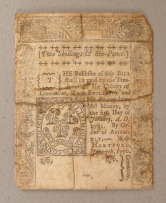 1776 Connecticut 2 Shilling & 6 Pence Colonial Currency Note F Repaired