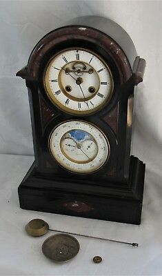 Delightful Antique French Perpetual Calendar Marble Mantle Clock. Rare!