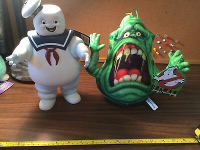Ghostbusters Stay Puft Marshmallow Man Bank and Slimer With tags