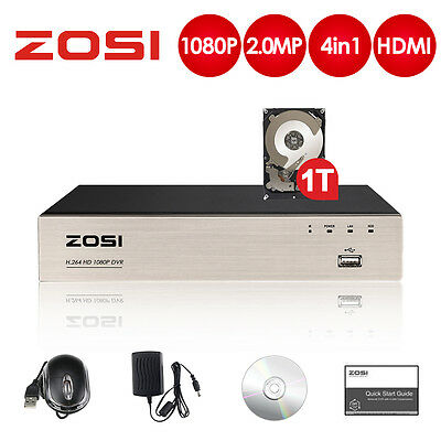 ZOSI 4CH 1TB 1080P HDMI DVR HDD P2P Smart Recording Free APP for Security Camera