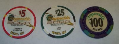 3  Three Fitzgeralds $100 $25 $5 Casino Chip Collection Reno Nv Limited Edition