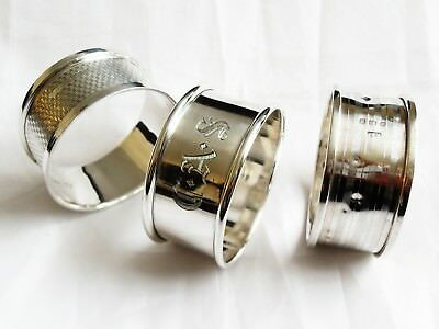 Antique Hallmarked Sterling Silver Napkin Rings, Different dates 38.9 grams