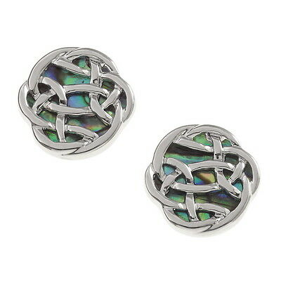 Blue Green Abalone / Paua Shell Round Celtic Knot Silver Stud Earrings