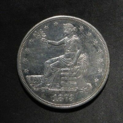 1873-S Trade Dollar- AU Cleaned