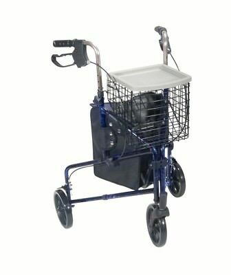Drive Medical 3 Wheel Walker Rollator with Basket Tray and Pouch, Blue, New