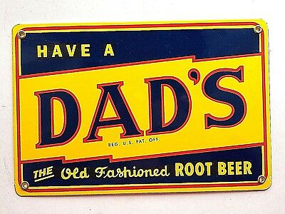 Porcelain Sign Dads Root Beer 8x12 Heavy Steel Coated Retro Vintage Style Soda