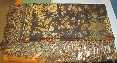 Antique Vintage Italian Piano Shawl with Fringes