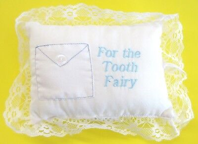 Tooth Fairy Pillow Baby Boy Blue Embroidered with Pocket for Tooth 5 in. x 7 in.