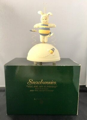 "Dept 56 Snowbunnies Bumble Bee Revolving Music Box  ""You are my Sunshine"" IOB"