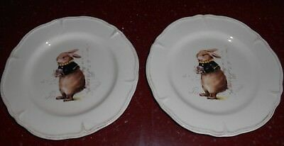 4 MAGENTA Easter Bunny Rabbit Salad Plates Paris French